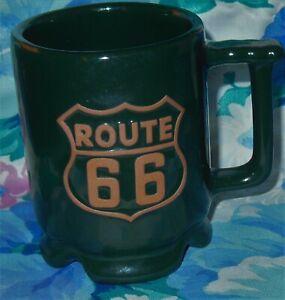 Details about FRANKOMA POTTERY ROUTE 66 Coffee MUG Historic Hunter Green  USA Art RAISED LOGO