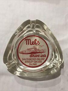 Vintage Mel's Drive Ins Tri Lobe Ashtray San Francisco &  Locations Ca Rare