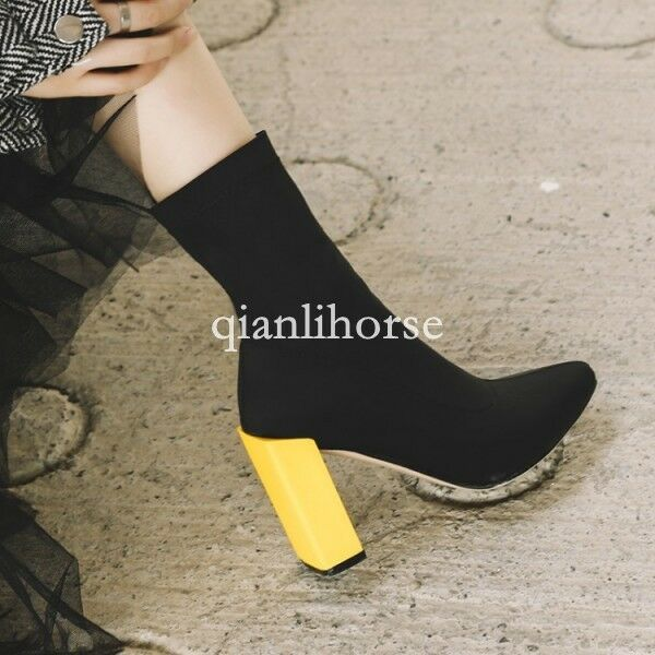 European mujer block high heel strench zapatos ankle botas pointy toe pull on zapatos strench new 151d5e
