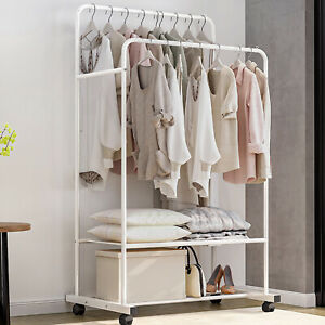 Mobile-Clothes-Coat-Rack-Stand-Portable-Double-Garment-Hanging-Rail-Shoe-Rack
