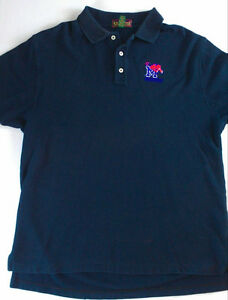 Memphis-Tigers-Polo-Shirt-Mens-Large-Navy-Blue-Cross-Creek-Large-Cotton-3-Button