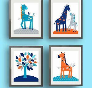 Image Is Loading Giraffe Nursery Wall Art Prints Harper Bedding Navy