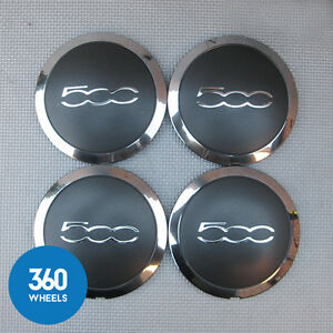 4-x-NEW-GENUINE-FIAT-500-500C-CENTRE-CAPS-HUB-BADGES-GREY-CHROME-BLACK-51884863