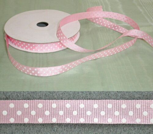 Grosgrain 10mm Spotted Baby Pink Ribbon 15 metres