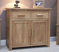 Windsor Solid Oak Furniture Small Storage Sideboard With Felt Pads