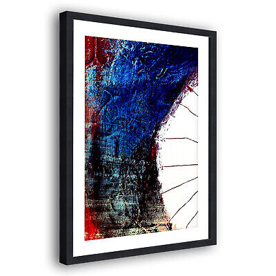 ZAB1692 Blue Black White Modern Canvas Abstract Home Wall Art Picture Prints