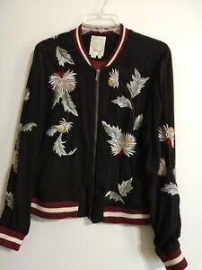 ebd9e7f59 Details about ELEVENSES Embroidered Solstice Floral Bomber Jacket size S  Anthropologie Black