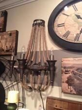 Metal Jute Nautical Rope Wall Lamp Lighting Chandelier Rustic 3 Light Sconce