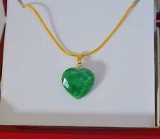 NATURAL RAW Brazilian EMERALD Green HEART Yellow Gold Pendant Handmade