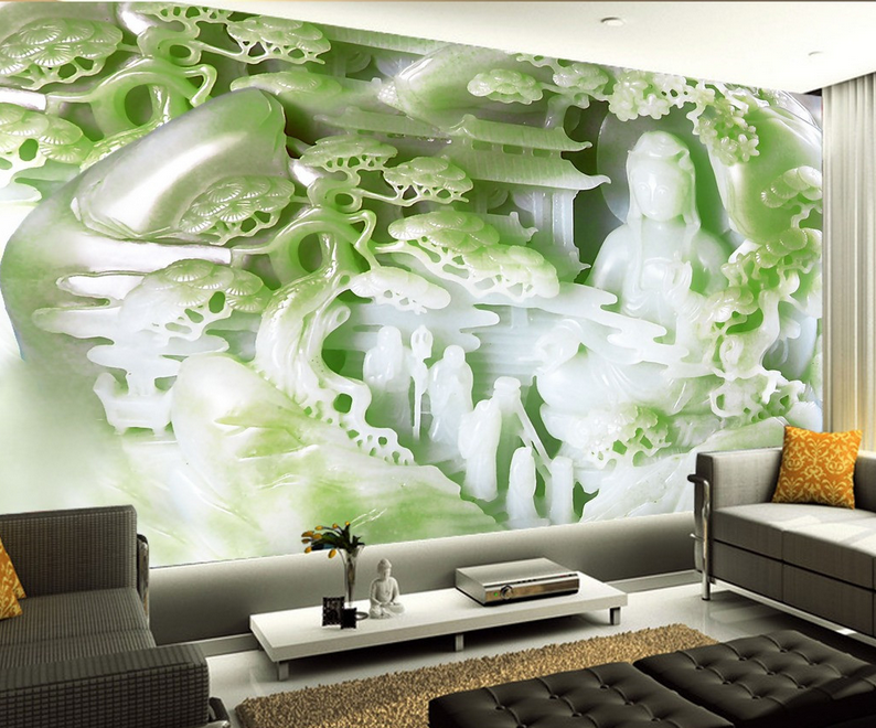 3D Pavilion Grün Trees Wall Paper Wall Print Decal Wall AJ WALLPAPER CA