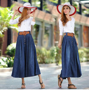 2be16a00da02 Elegant Womens A-Line Long Denim Maxi Skirts Modest Jean Skirts With ...