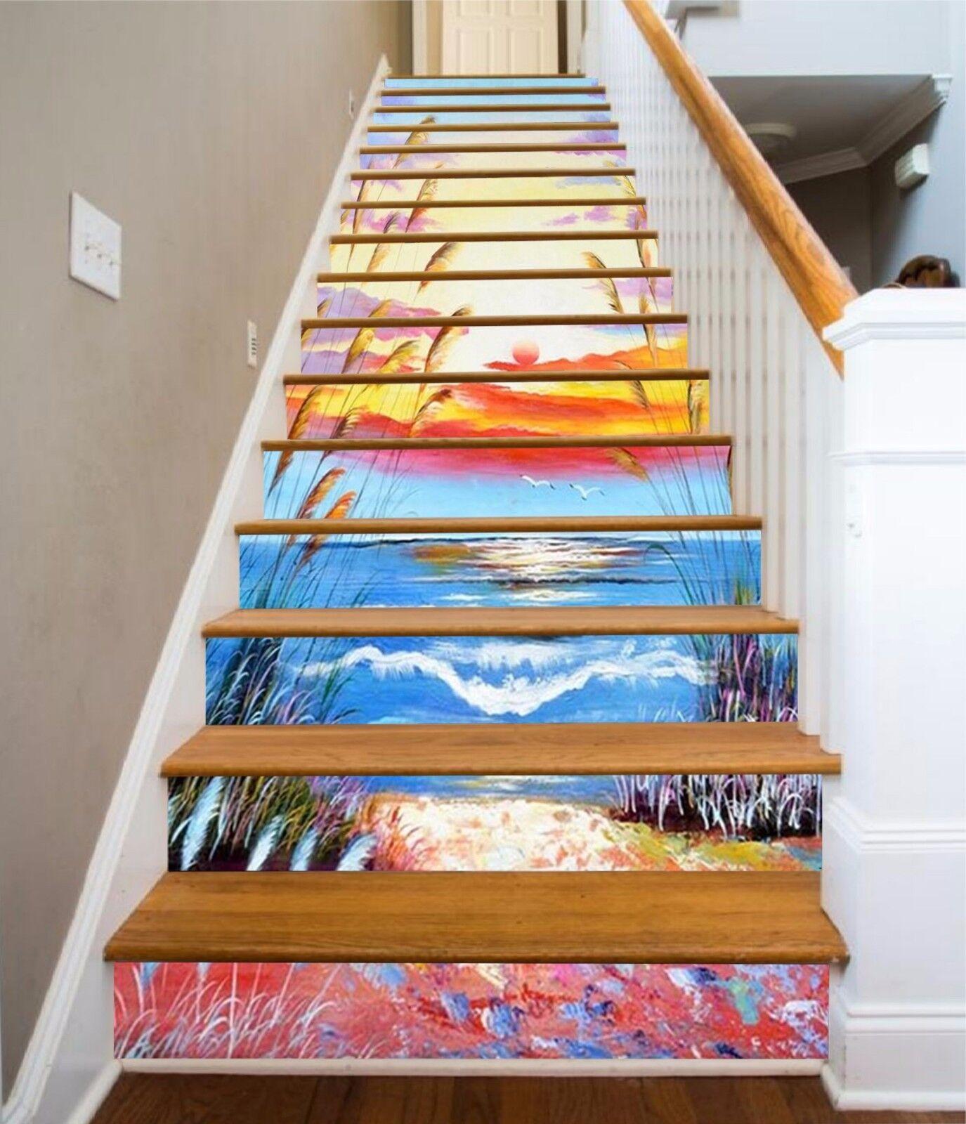 3D Sunset Glow 610 Stair Risers Decoration Photo Mural Vinyl Decal Wallpaper UK