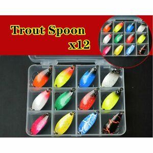 DE-12x-Forellenblinker-Set-Trout-Spoon-Spinner-Angelkoeder-Loeffel-Kunstkoeder