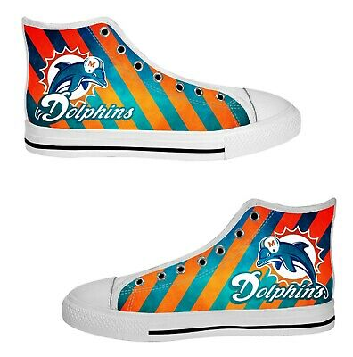 miami dolphins mens custom sneakers high top canvas casual