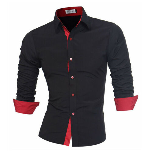 Luxury Mens Slim Fit Formal  Lapel Long Sleeve  Shirts  Tops Tee Casual