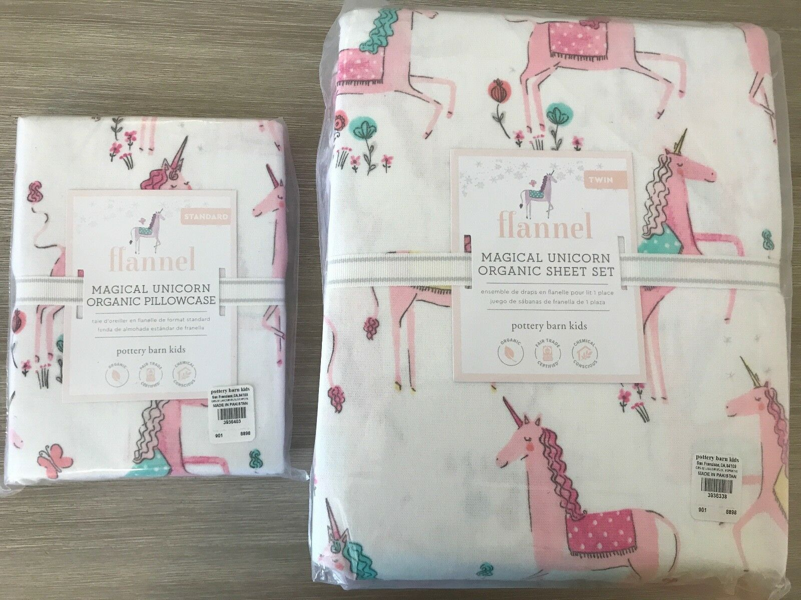 POTTERY BARN KIDS New Neuf avec étiquettes Twin Sheet Set Organique rose Licornes + 1 Extra Case