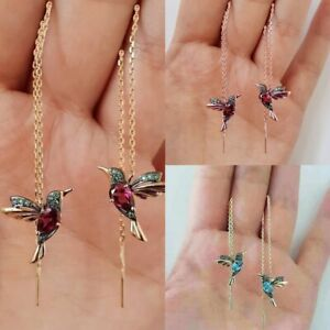 Kolibri-Ohrringe-Stud-Threader-Long-Drop-Quaste-Kristall-baumeln-Ohrschmuck