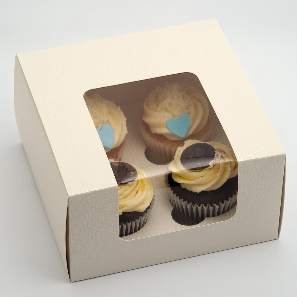 LUXURY ANTIQUE Weiß CUPCAKE BOXES 4 CUP INSERTS IDEAL WEDDING FAVOURS OR GIFTS
