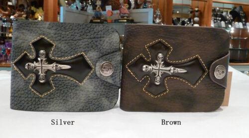 Free Post Within Australia BROWN Mens Biker//Skull//Gothic leather wallet Cross