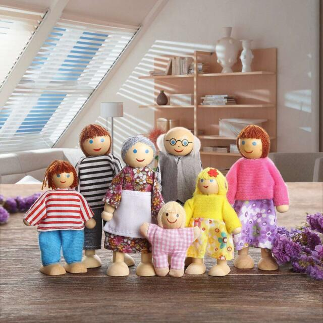 UK Wooden Furniture Dolls House Family Miniature 7 People Doll Kids Children Toy