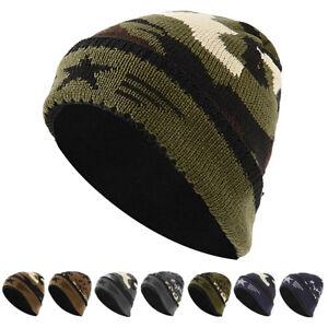 02e31c8f541393 Knit Winter Warm Ski Hat Chunky Camo Fleece Beanie Unisex Men Women ...