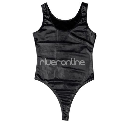 Damen Body Metallic Stringbody Bodysuit Lack Leder Dessous Schwimmanzug Bademode