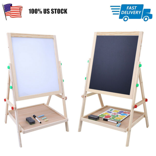 Durable 2 In 1 Double Side Baby Kids Child Standing Art Wooden Drawing Board