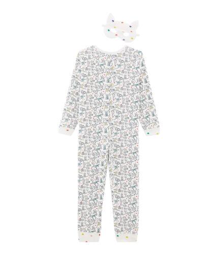 PETIT BATEAU Schlafoverall Pyjama allover Katzen plus Katzenmaske  Gr 110-134