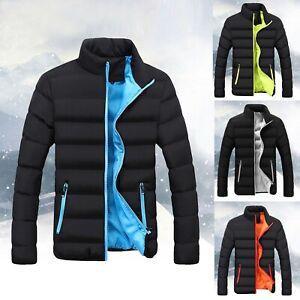 Herren Reißverschluss Stepp Gepolsterte Mantel Gefütterte Blase Jacke Winter Warm Outwear Tops