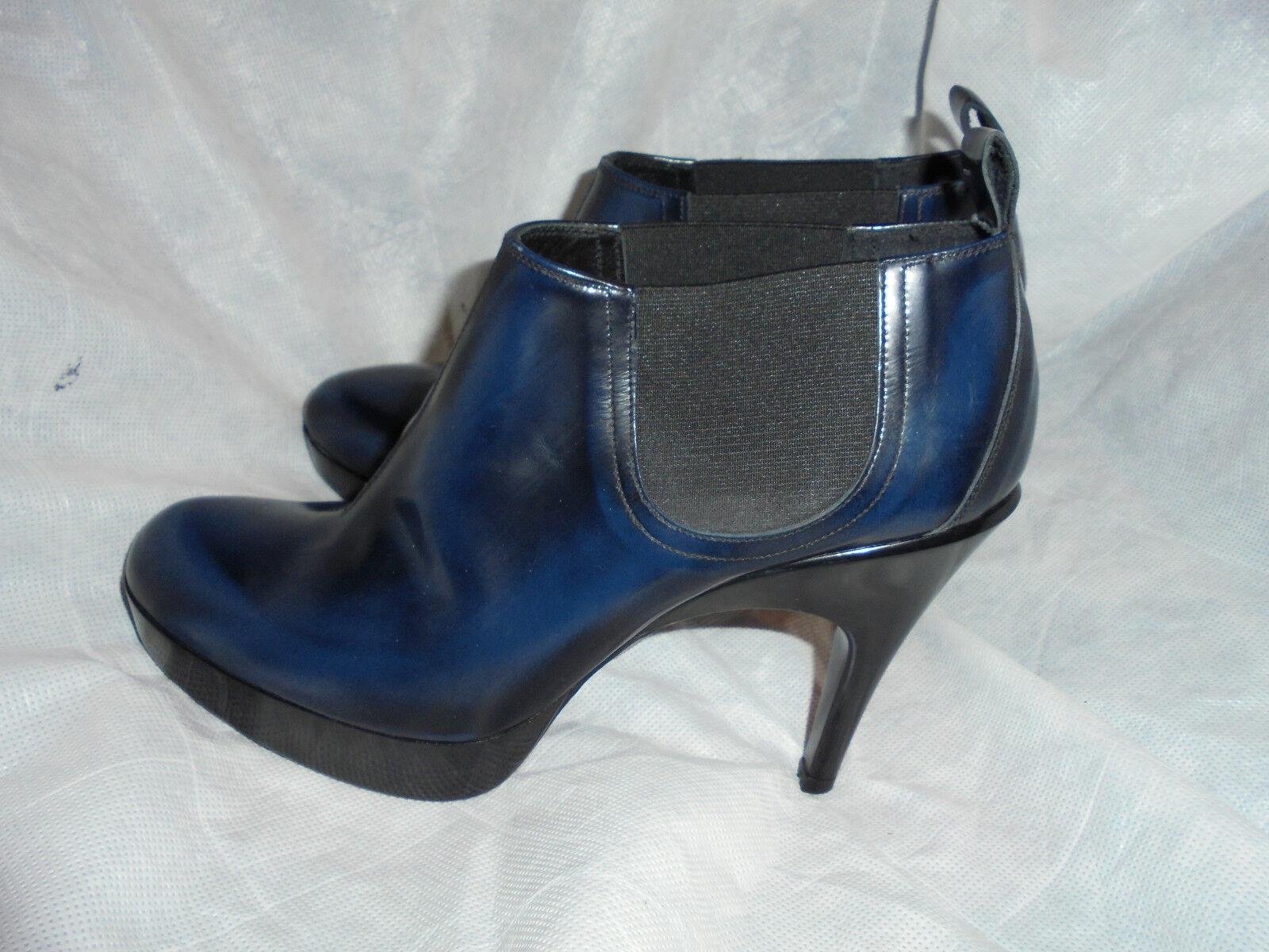 PEDRO GARCIA WOMEN'S Blau LEATHER  PULL ON ELASTIC BOOTS Größe UK 6.5 EU 39.5 VGC