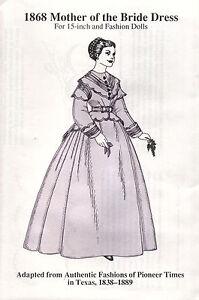 1852 Reseda Green Cambric Dress for 15-inch and Fashion Dolls Gene Alex