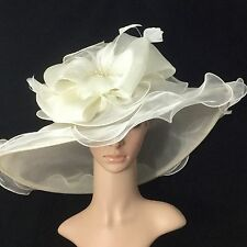 2017 New Ivory Kentucky Derby Hat Wide Brim Bridal Wedding Tea party horse race