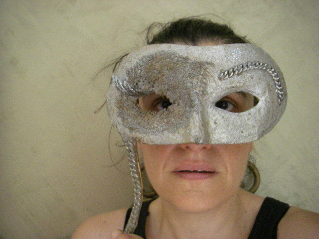 Handcrafted Silver Venetian Type Costume Theatre Wedding Mask