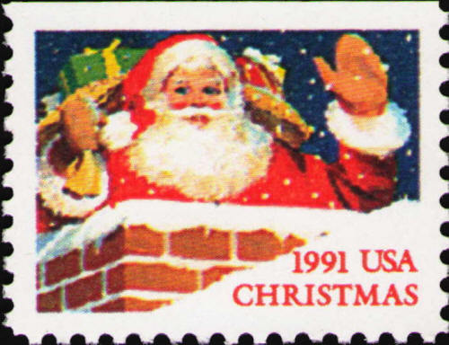 1991 29c Santa in Chimney, Booklet Single Scott 2580 Mi