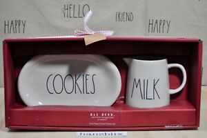 Rae-Dunn-COOKIES-Oval-Plate-amp-MILK-Small-Pitcher-Set-Christmas-NEW-039-19