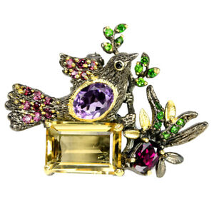 NATURAL-CITRINE-AMETHYST-CHROME-DIOPSIDE-RHODOLITE-STERLING-925-SILVER-BROOCH