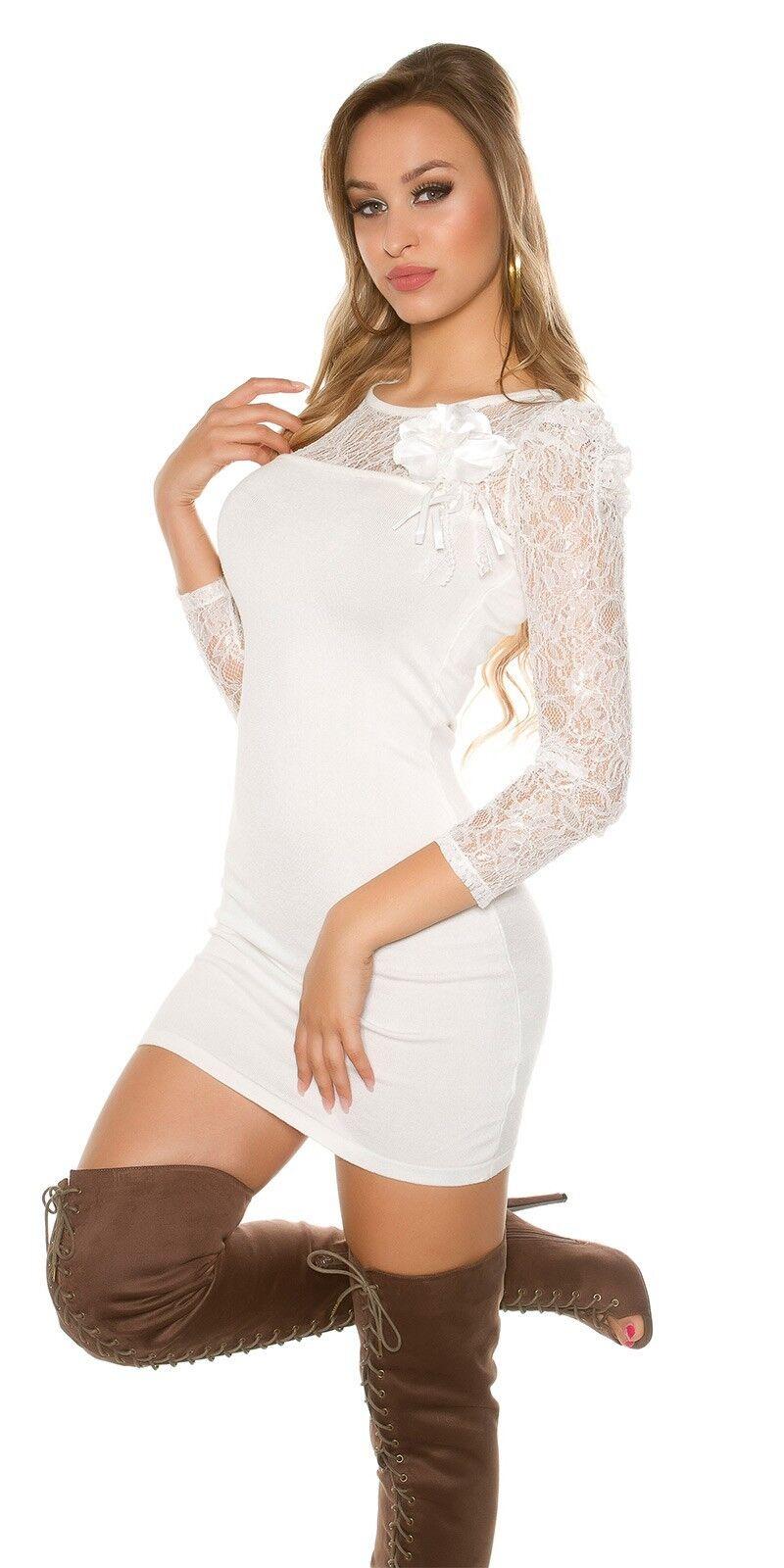 Koucla robe tricotée pull Minirobe pull tricotée pull long dentelle robe en dentelle Broche 326fdb