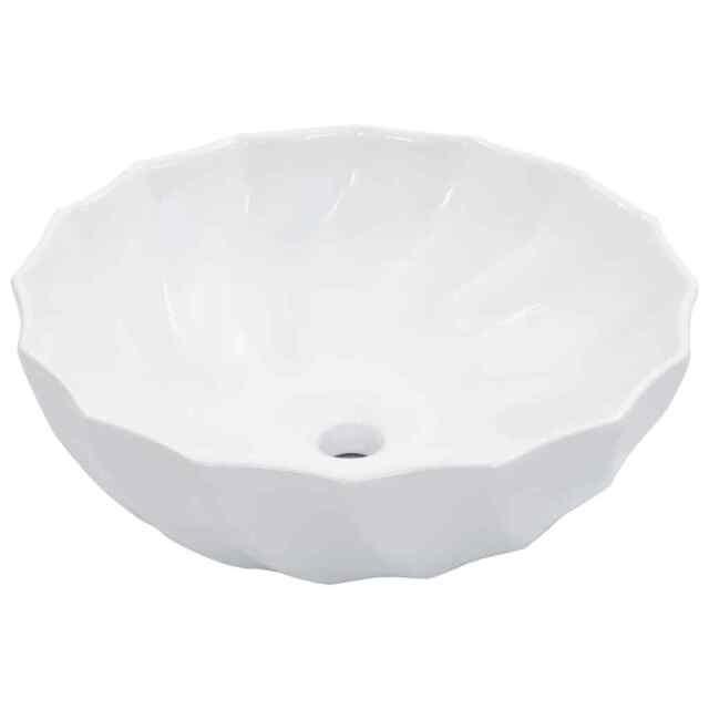 vidaXL Lavabo 46x17 cm Céramique Blanc Lave-Mains Vasque Salle de Bain Maison