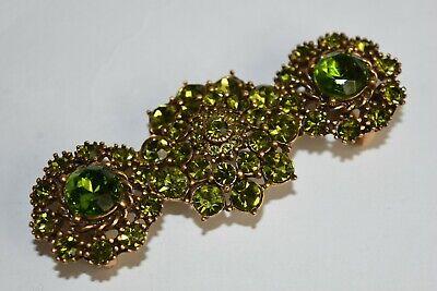 Aspirante Nuovo Oscar De La Renta Fibbia Cintura Spilla Jeweled Oro Verde Lime Cristalli