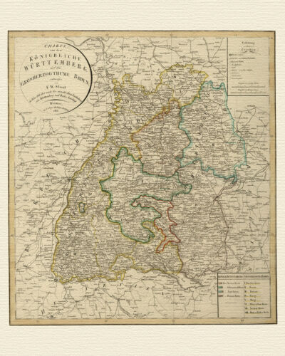 Old Kingdom of Württemberg Baden Map Weiland approx 1821 Paper Canvas