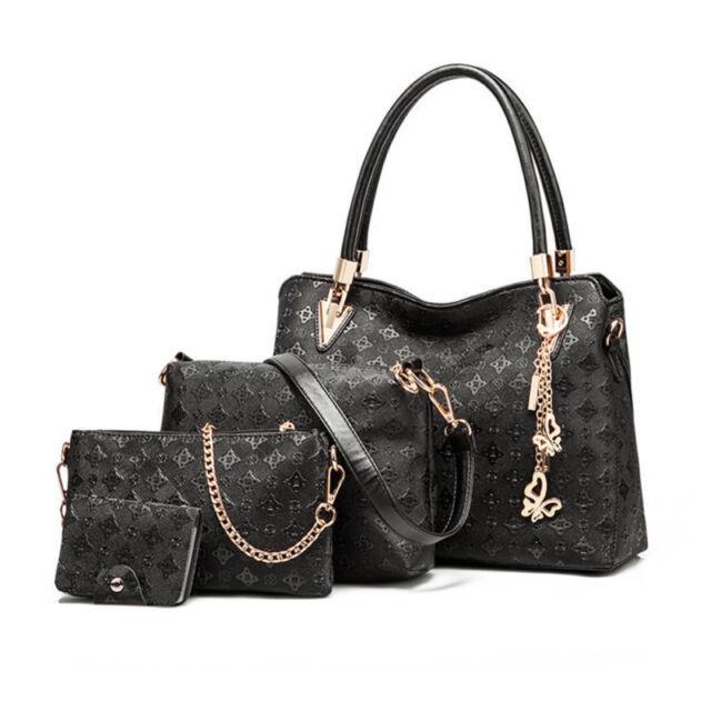 f8f963877c5e Womens DESIGNER Handbag Set Leather Shoulder Messenger Tote Purse ...