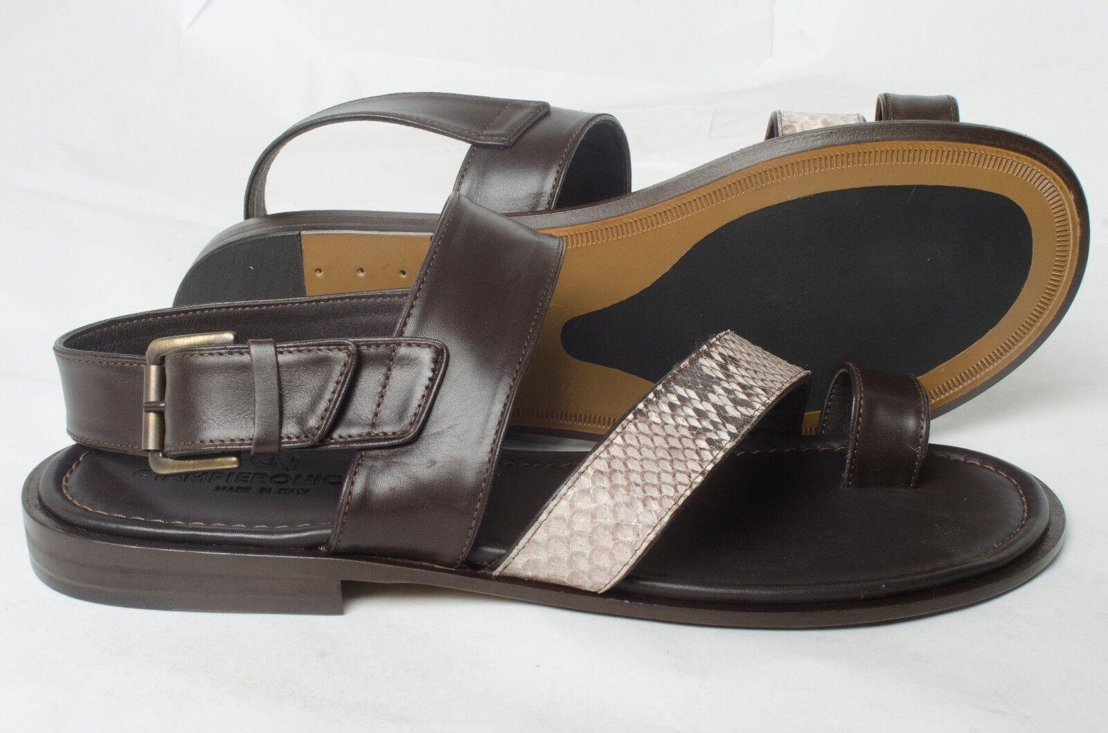 GIAMPIERONICOLA 5076 Italian mens brown with piton print leather strappy sandal
