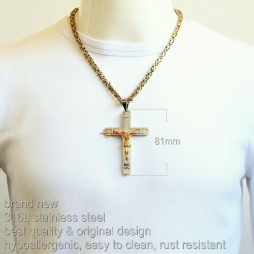 Stainless Steel INRI Jesus Cross Crucifix Byzantine King Chain Pendant Necklace