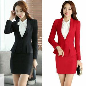 Women Suit 2PCS Jacket+Skirt Sets Formal Ruffle Slim Fitted OL Office Work  Wear | eBay