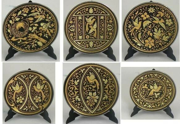 Damascene Gold Bird Design Round Decorative Mini Plate by Midas of Toledo Spain
