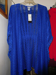 f18e4f3264 NWT 2X 3X CATHERINE'S BLUE COVER UP OVER PIECE JACKET LACE WEAVE ...