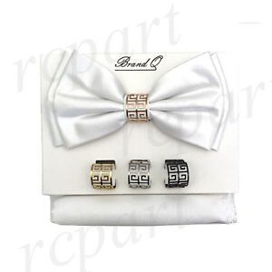 New formal Men/'s micro fiber Pre-tied Bow Tie /& Hankie charcoal gray paisley