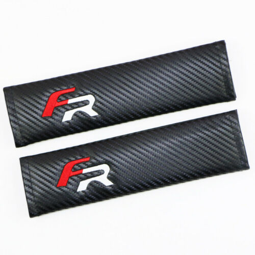 Auto Carbon Fiber FR Embroidery Car Seat Safety Belt Cushion Shoulder Pad Cover