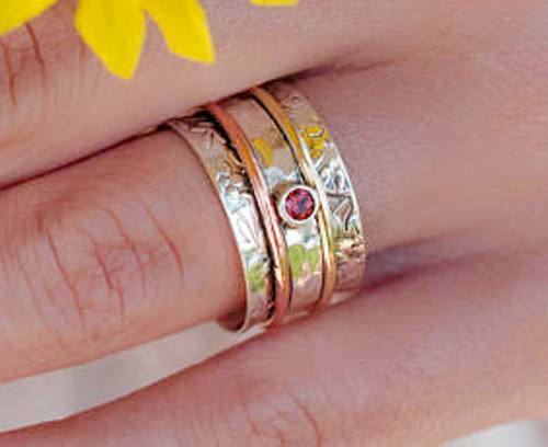 Garnet 925 Sterling Silver Brass Wide Band Spinner Ring Handmade Jewelry ss64