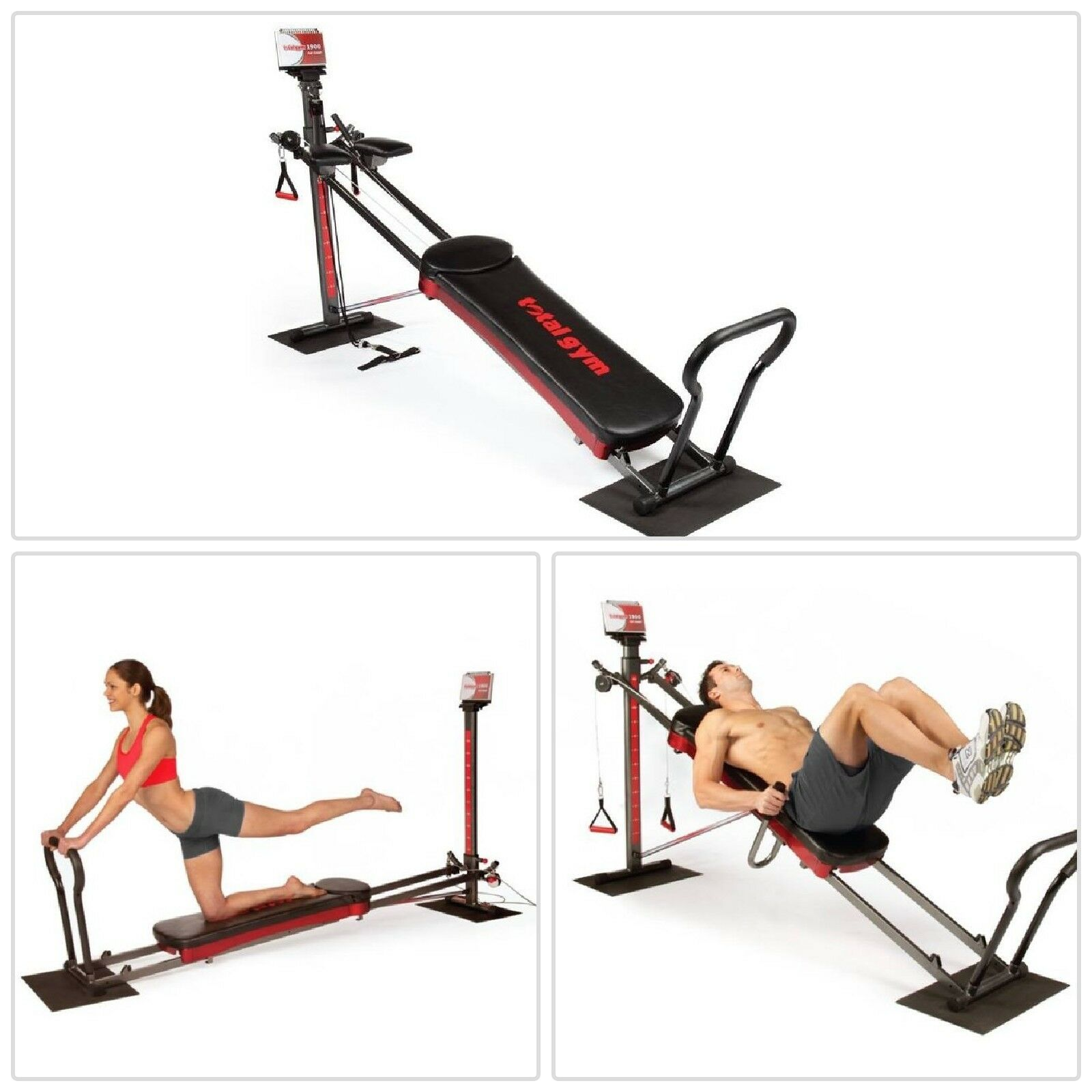Total Gym 1900 Full Body Resistance Home Gym Training 60 Exercises Easy Storage